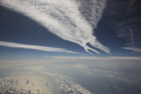 Cloudscape and vapour trails above the Mediterranean Sea - STB000064
