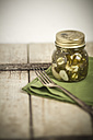 Pickled and sliced Jalapeno-Chilis (Capsicum annuum) in a jar, green serviette and fork, studio shot - SBDF000229