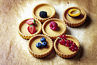 Six tartlets with red currants, strawberry, blueberries, raspberry, blackberry and plum half on baking paper, studio shot - CSF020102