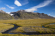 Iceland, Region Sudurland, landscapes with brook, meadows and hills - STSF000150