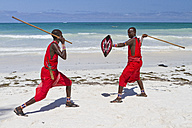 Africa, Kenya, Coast Province, District Kwale, Diani Beach, fighting demonstration of the Massai - WL000003