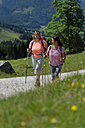 Germany, Bavaria, Hikers on Ramsau mountain pasture experience path - LB000371