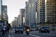 Brazil, Sao Paulo, district Bela Vista, street Avenida Paulista, skyscrapers at financial district - FLK000158