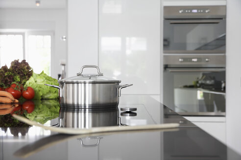 Germany, Cologne, Pot and vegetables on kitchen surface - PDF000538