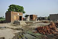 Pakistan, Punjab, Lashari Wala, building dwellings for flood victims - FLK000144