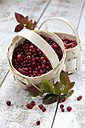 Cranberries (Vaccinium vitis-idaea) in two little baskets on wooden table, studio shot - CSF020281