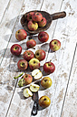Organic apples (Malus), a knife and a wooden spoon on white wooden table, studio shot - CSF020296