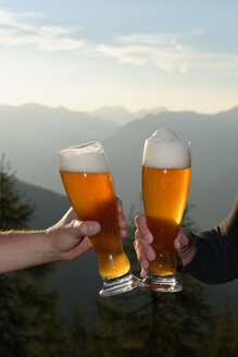 Germany, Bavaria, Berchtegaden Alps,Two men toasting with wheat beer - LB000380