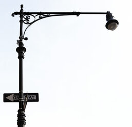 USA, New York City, Street lantern and one way sign - TLF000710