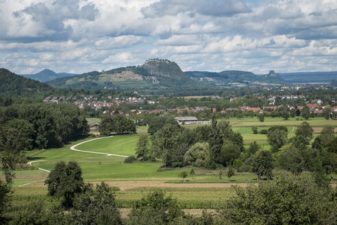 Germany, Baden Wuerttemberg, View of Hegau landscape, Hohenhewen, Hohentwiel and Hohenkraehen, from left - ELF000587