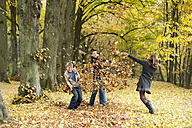 Three children throwing autumn leaves in a forest - PA000038