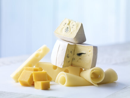Selection of Cheddar, blue cheese and Emmentaler cheese on wooden table - SRSF000321