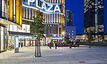 Germany, Hesse, Frankfurt, European Quarter, Skyline Plaza shopping center in the evening - AM001080