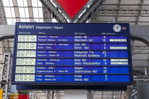 Germany, Hesse, Frankfurt, destination board at main station - AM001078