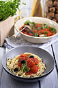 Spaghetti with sauce made of grilled tomatoes with black olives and leaves of basil, studio shot - ODF000651