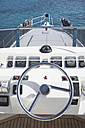 Italy, Sardinia, Steering wheel of luxury yacht - PDF000577