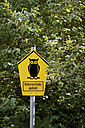 Germany, Mecklenburg-Western Pomerania, Schaalsee, Sign post in forest - JEDF000033