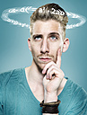 Young man with flying formulae around his head, Composite - STKF000503