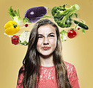 Girl with flying vegetables around her head, Composite - STKF000495