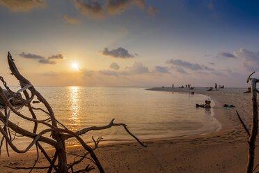 Maldives, People at beach watching sunset - AM001180