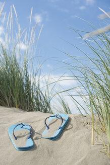 Italy, Flip flops on the beach - CR002512