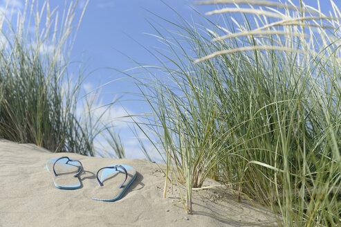 Italy, Flip flops on the beach - CR002514