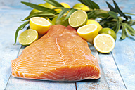 Salmon fillet (Salmo salar) and sliced lemons on blue wooden table - CSF020331