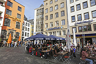 Germany, North Rine-Westphalia, Cologne, street cafe at Heumarkt, part of the old city - JAT000483