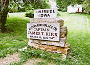 USA, Iowa, Riverside, Memorial stone of the future birthplace of Captain Kirk - MBE000862