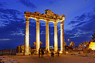 Turkey, Side, Temple of Apollo at dusk - SIE004701