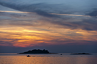 Croatia, Vrsar, Sunset over sea with boat - KJF000262