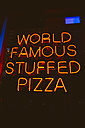 USA, Illinois, Chicago, neon advertising for world famous stuffed pizza - MBE000879