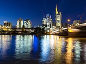 Germany, Hesse, Frankfurt, view to skyline with financal district at night - AMF001307