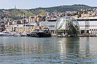 Italy, Genoa, Glass sphere La Biosfera at Porto Antico - AM001378