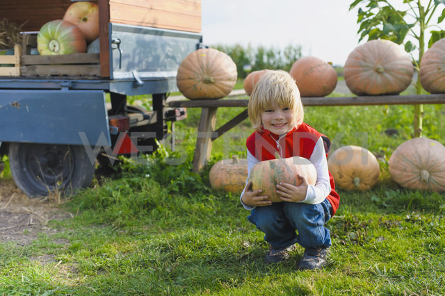 Little boy holding pumpkin - MJF000402