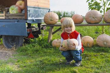 Little boy holding pumpkin - MJF000402