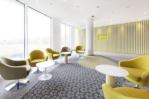 Poland, Warsaw, seating furniture at lounge of hotel - MLF000231