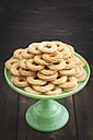 Traditional spritz cookies on green cake plate - ECF000391