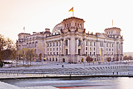 Germany, Berlin, View of Reichstag parliament building in the evening - MSF003093