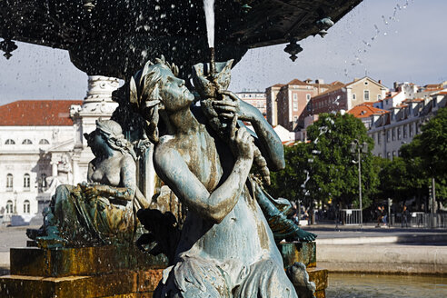 Portugal, Lisboa, Baixa, Rossio, Praca Dom Pedro IV, part of fountain - BIF000098