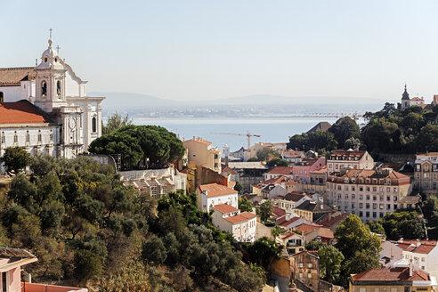 Portugal, Lisbon, Mouraria, Miradouro de Nossa Senhora do Monte, view to Tejo - BIF000118