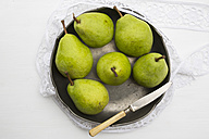 Pears and a knife in a bowl - LVF000357