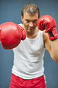 Boxer with red boxing gloves fighting - PAF000085