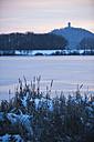 Germanyy, Rhineland-Palatinate, Rhein valley, Rodder Maar, Olbrueck Castle in winter - PA000047