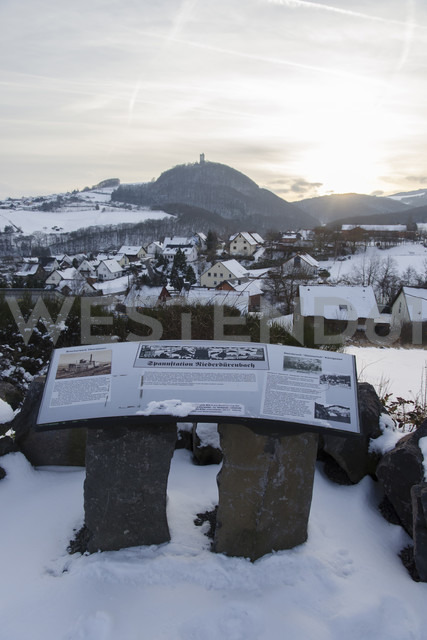 Germanyy, Rhineland-Palatinate, Rhein valley, Niederduerenbach with Olbrueck Castle in winter, information board - PA000048