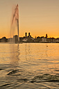 Germany, Baden-Wurttemberg, Friedrichshafen, Silhouette of  Castle Church and water fountain - SH001167