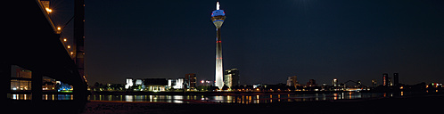Germany, North Rhine-Westphalia, Duesseldorf, panorama with television tower by night - VI000110