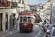 Portugal, Lisboa, Mouraria, electrico driving upwards - BI000158