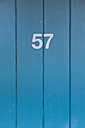 Germany, Number on a wooden door at a bath - MSF003144