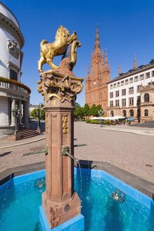 Germany, Hesse, Wiesbaden, Fountain, Hessian Landtag, Market Church and new town hall - WDF002145